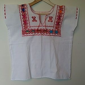 White cotton shirt boho hand-embroidered red